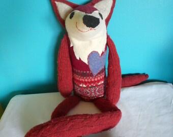 Repurposed felted sweater stuffed fox