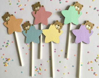 Little Star Themed Cupcake Toppers - Set of 12