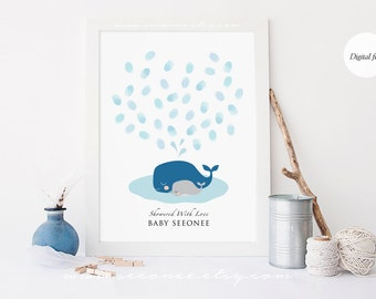 Whale Fingerprint Guestbook, Thumbprint Guest book Alternative, Personalized Baby shower gift, Birthday, Printable Nursery art digital file