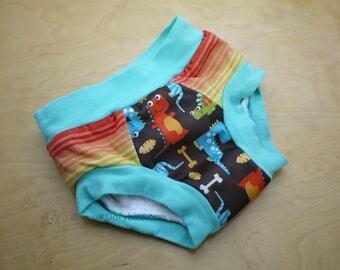 Handmade Cloth Trainers- size 3/4 -PUL Training Pants- Stripe-o-saurus- dinosaur Potty Training underwear -Potty Learning undies -no elastic