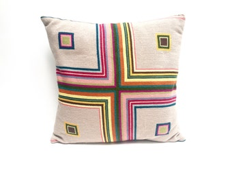 Vintage geometric needlepoint pillow | concentric squares | bold colors | vintage modern | handmade accent pillow | pink, green, beige