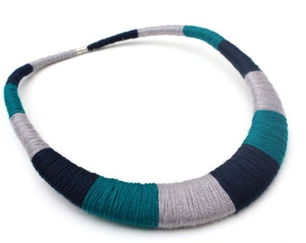 Tribal Teal Dark Blue Gray Bib Statement Necklace Textile Multicolor Necklace Gift for Her Fiber Statement Jewelry