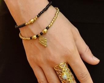 Beaded Ethnic Bracelet, Double Wrap Bracelet, Brass Bracelet, Bohemian Bracelet, Tribal Bracelet