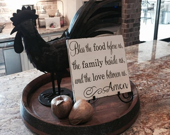 Bless the Food Before Us the Family Beside Us and the Love Between Us Wood Sign, Kitchen Wood Sign, Farmhouse Decor, Kitchen Decor, Prayer
