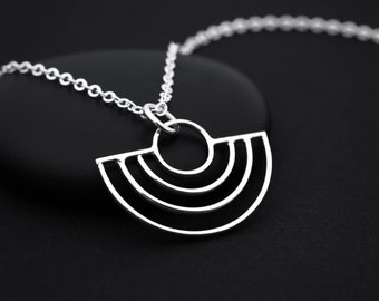 Art Deco Necklace, Half Circle Necklace, Art Deco Jewelry, Sterling Silver, Art Deco Pendant, Silver Geometric Necklace, Geometric Jewelry