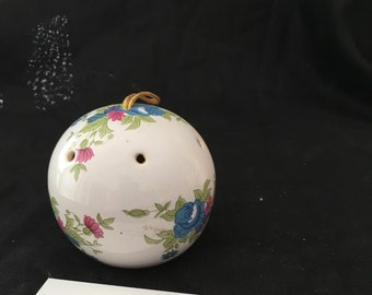 Vintage bone china pomander with hand painted flowers, vintage ceramic sachet, air freshener, closet sachet, ceramic air freshener ball