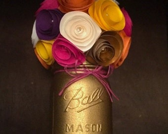 Gold Sparkle Paper Flower Bouquet-Hand Painted Mason Jar
