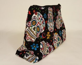 Day of the Dead / Dias de los Muertos Bag - Make Up Bag - Stand Up Bag - Nerdy Gifts for Her - Geeky gift