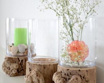 Candle & vase with Driftwood base