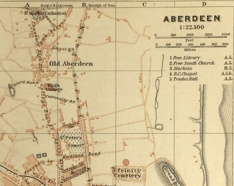 Vintage map of Aberdeen (genuine 1901 antique) with option to handcut with custom words