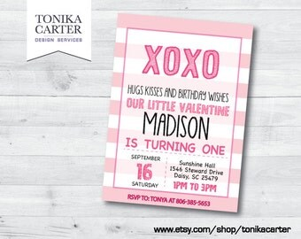 Valentine XO Birthday Party Invitation (pink)