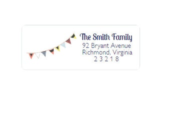 Return Address Labels - Address Stickers - Nautical - Navy, Red, Yellow and Light Blue - Personalized - Custom