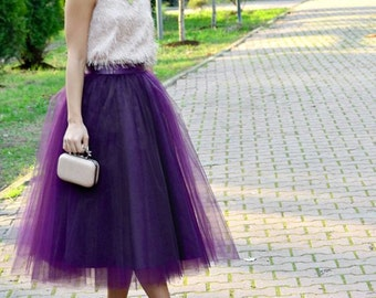 Tea Length Purple Tulle Skirt/Quality Tulle Party Skirt