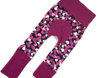 Valentines Day Heart Maxaloones - Grow With Me Pants - Baby Leggings - Cloth Diaper Pants - Bum Pants - Toddler Pants - Baby Shower