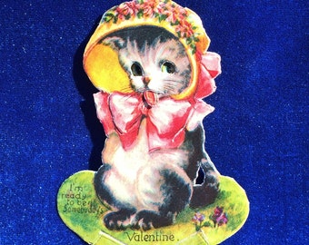 1920's Cat in Bonnet Valentine German Mechanical High Quality Card