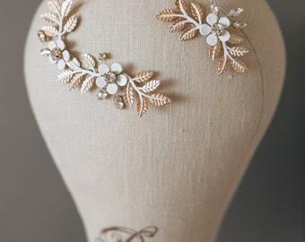 Bridal Headpiece, Gold Leaf Headpiece, Leaf Branch headpiece, Flower Headpiece, Geacian Hairpiece, Wedding Hairpiece , Wedding Hair Jewelry