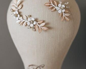 20% OFF- Bridal Headpiece, Gold Leaf Headpiece, Leaf Branch headpiece, Flower Headpiece, Geacian Hairpiece, Wedding Hairpiece, Hair Jewelry