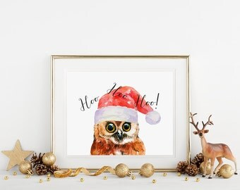 Hoo Hoo Hoo Owl Christmas Decorations Winter Wall Art Owl Christmas Card Printable Christmas Art Print HoHoHo Holiday Decor Digital Print