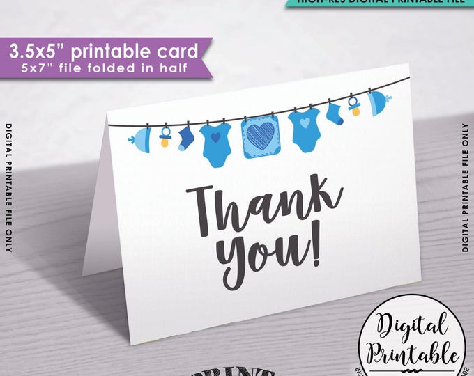 "Baby Shower Thank You Cards, Printable Thank Yous, Blue Baby Thank You Cards, Thanks, 3.5x5"" folded card, 5x7"" Printable Instant Download"