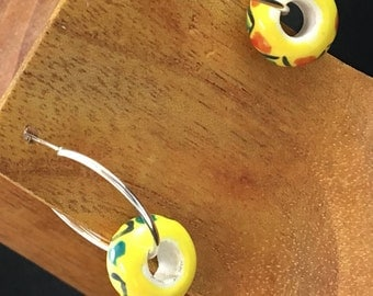 Handmade, Beaded, Hinged Lever Back, Earrings, Do You Like Yellow?