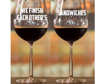 Engagement Glasses~ Couples Gift  Engraved Glasses ETCHED glasses Personalized Gift Wine Glasses Stemless Wine glass Engagement Gift