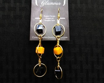Multilayered Yellow, Black, and Gold Dangle Earrings