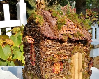 Rustic Fairy House Log Cabin Made From Back Yard God Made Materials Only A Celebration of Nature