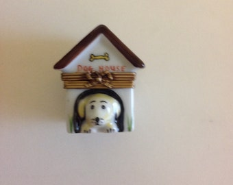 French Limoge Doghouse Trinket Box