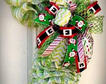 "New 3' Whimsical Christmas ""Candy Cane"" Wreath (Optional Light's) Premium Quality Metallic Ribbon, Sparkling Holographics, Santa, & More!!!"