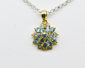 Sterling Silver with Yellow Gold Plating & 2.89cttw Blue Zircon Pendant 3.3g