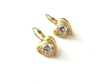 Gorgeous Vintage CZ Rhinestone Heart Earrings