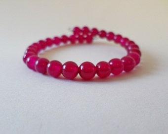 Fuschia Malaysian Jade Bracelet