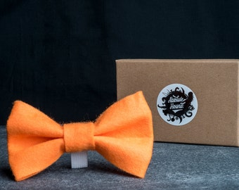 Dog Bowtie - Collar accessories - Handmade felt bow tie - idea gift for dogs and puppies - Orange