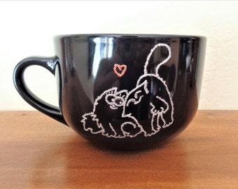 Big mug Simon's cats Hand painting Painted mug Black mug