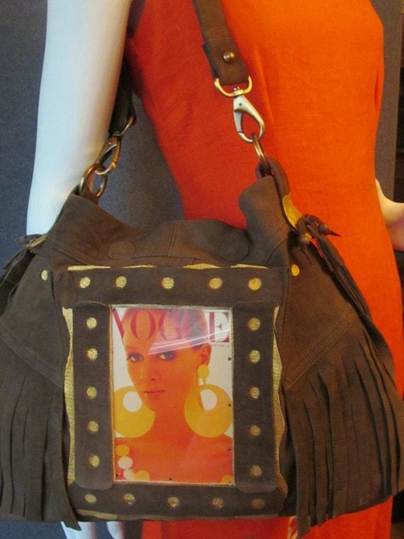 Khaki  shoulder bag with suede. Boho shoulder bag. colours; khaki, gold, yellow, orange, red. Ready to ship