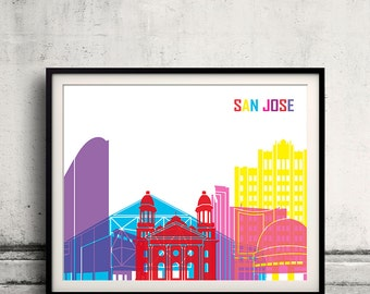 San Jose pop art skyline - Fine Art Print Glicee Poster Gift Illustration Pop Art Colorful Landmarks - SKU 2257