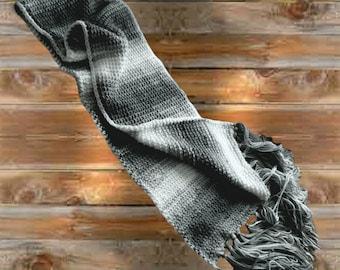 Soft Stripe Crochet Scarf, 69 inch super scarf w fringe, Gray Shades White Wrap, 10 inch wide warm neck wrap, Winter Scarf,  Grey Head wrap