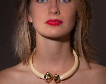 Vania:  Murano Glass Statement Collar with Gold Plated Resin Centerpieces