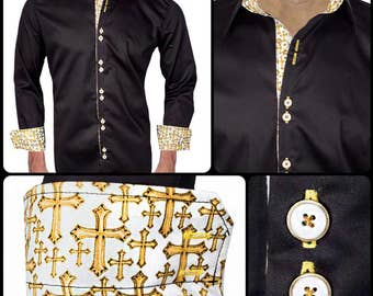 Black Designer Dress Shirts for Church  - Made To Order in USA
