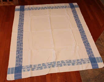 Vintage Blue & White Tablecloth