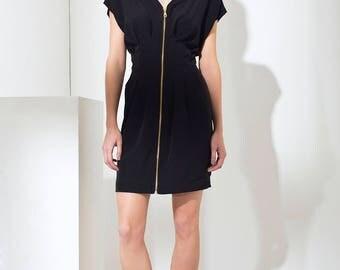 Black zipper dress, V neck dress, Black Elegant dress, Party dress, Formal dress, Little Black dress, LBD, Black dress for wedding