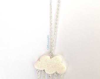 Cloud Necklace, Cloud Pendant Necklace, Cloud Jewelry, Rainy Cloud Necklace, Rainy Cloud,