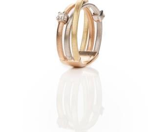 Gorgeous 18kt White, Yellow, Rose Gold Triple Band String Series Ladies Bridal Woman Designed Order Made Ring