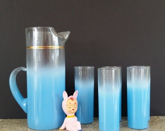 Vintage Six Piece Blue Blendo Pitcher and Glass Set