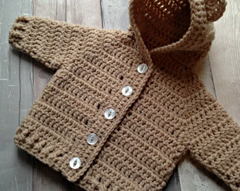Baby Bear Hooded Cardigan - Crochet Cardigan - Baby Cardigan - Baby Jumper - Baby Sweater