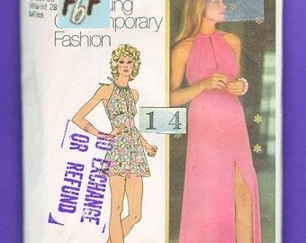 1970's Mod High Neckline, Evening Dress/ Simplicity 5372 Drawstring, Keyhole, Empire Waist, Summer Dress, Sundress Sewing pattern/ Size 14