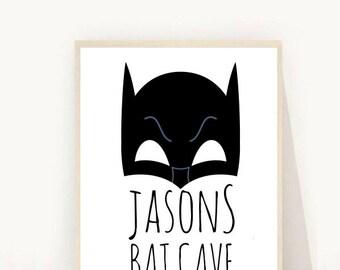 Custom Name Print, Bat Cave Poster, Personalized Print, Boys Custom Name, Boys Room Decor,  Custom Print, Digital Download