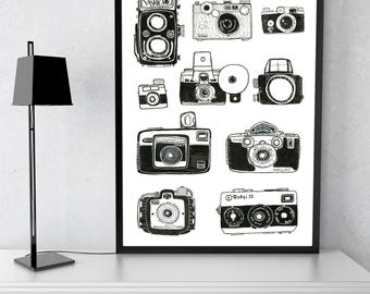 Vintage Camera Print, Black Vintage Cameras Poster, Office Decor, Vintage Camera Decor, Gift for Him, Home Office Art, Father's Day Gift