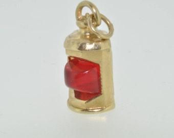 9ct yellow gold red 'port' ships lantern 1979