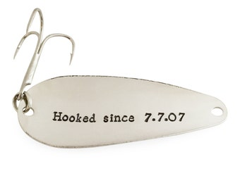 10 year anniversary gifts, for men, for women, hooked since 2007, stamped fishing spoon, fishing lure